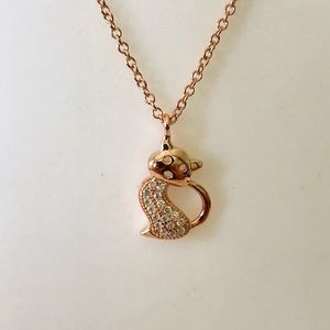 Sterling Silver CZ Cute Kitty Necklace